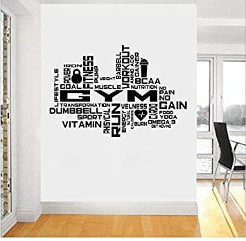 Wandaufkleber Wandtattoos Gym Motivation Sport Beautiful Body Health Stickers Home Decor Pvc Wall Decal 75x50cm Amazon De Baumarkt
