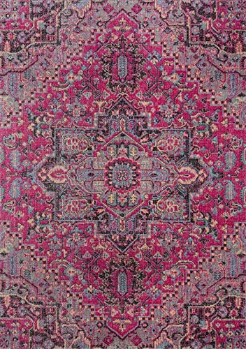 Momeni Rugs JEWELJW-03PNK7A9A Jewel Traditional Medallion Flat Weave Area Rug, 7'10