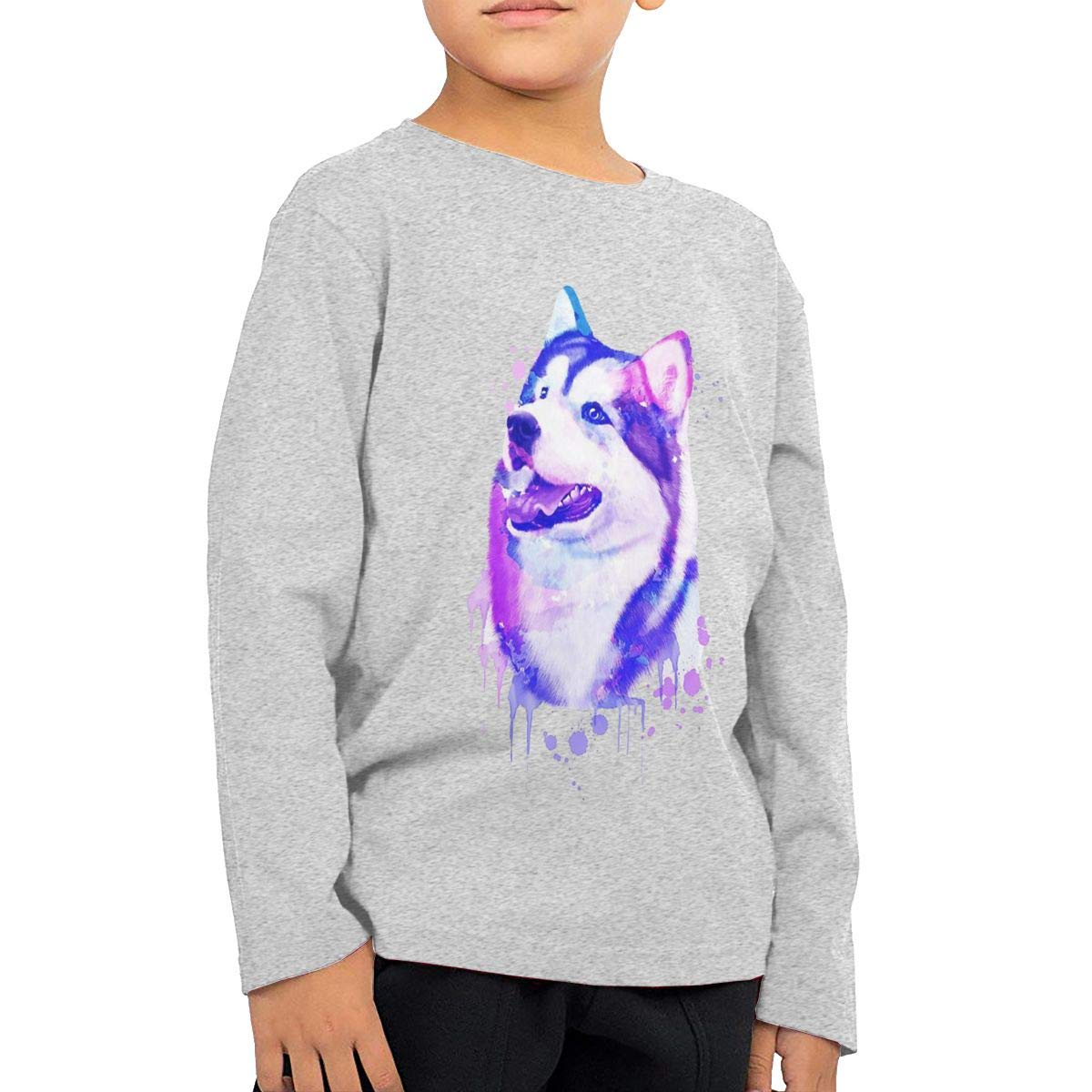 Husky Watercolor Boys Cotton Long Sleeve Tshirt