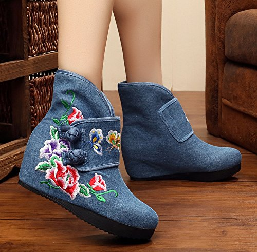 Womens Boots Flower Blue Butterfly Wedge AvaCostume Embroidery Ankle Heel Boots dwqpxOU4