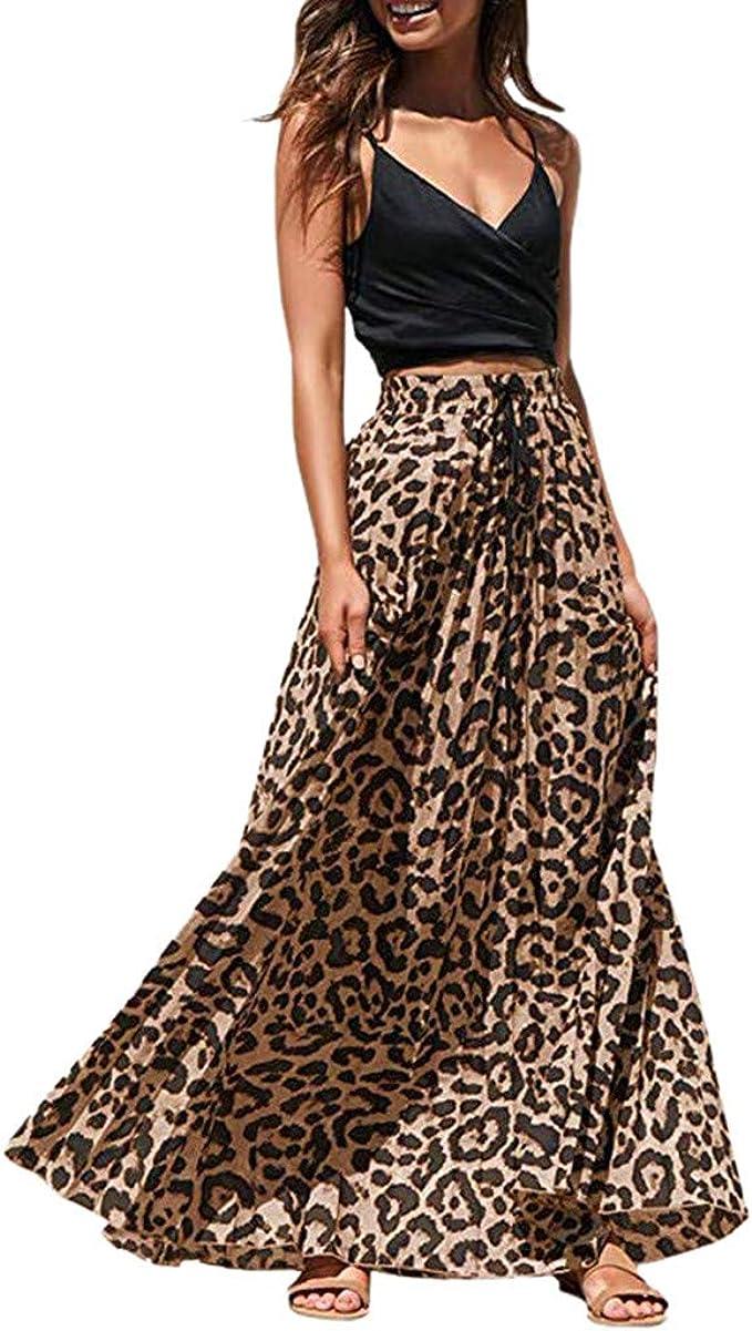 AIni Damen Leopard Print Lange Kordelzug Plissee Hoch Taillierte