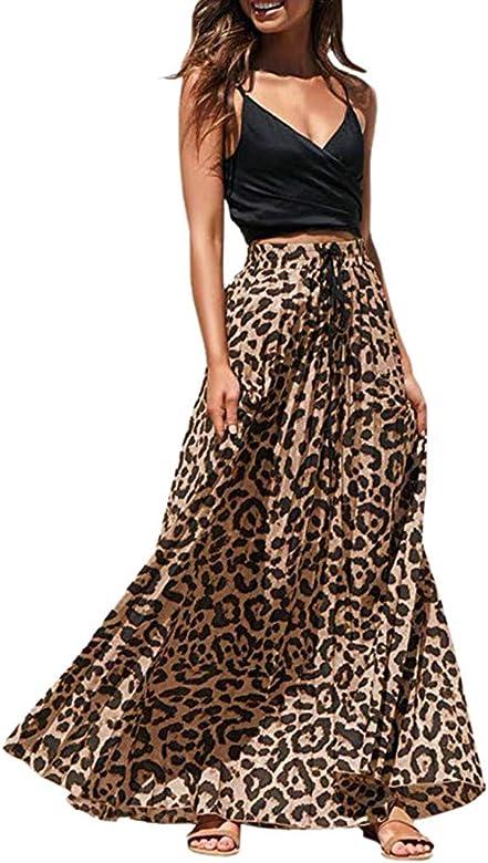 BBsmile Faldas Mujer Verano 2019 Leopardo Impresión Largo Cordón ...