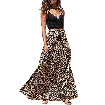 3c2569818 Bibao Maxi faldas largas con estampado de leopardo, cintura alta ...