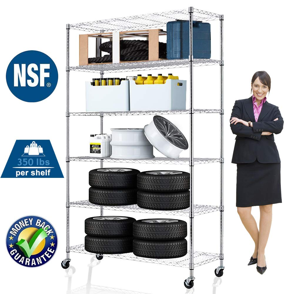 Wire Shelving Unit NSF Heavy Duty Office Basement Kitchen Adjustable Metal Storage Shelves Rack with Wheels 48''x18''x82'' 6 Tier Shelf Commercial Grade Utility Garage Shelving Unit