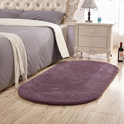 SANMU Soft Velvet Silk Rugs Simple Style Modern Oval Shaggy Carpet Fashion Bedroom Mat for Dining Living Room Rugs for Girls Room Home Decor 2.6' X 5.3' Grey-purple by Softlife