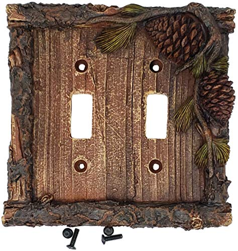 Pinecone Double Outlet - Rainbow Trading RA 4386 Pine Cone Rustic Cabin Double Switch Decorative Wall Plate