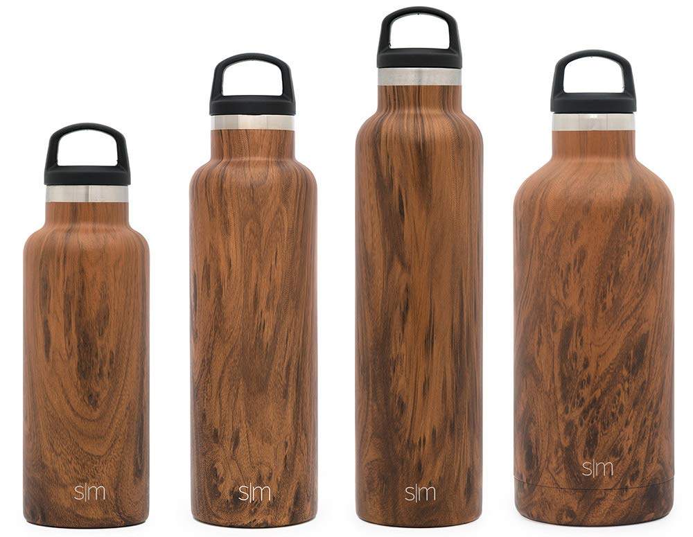 Simple Modern 24oz Ascent Water Bottle - Stainless Steel Hydro Swell Flask w/Handle Lid - Double Wall Vacuum Insulated Reusable Tumbler Small Kids Coffee Leakproof Thermos - Wood Grain