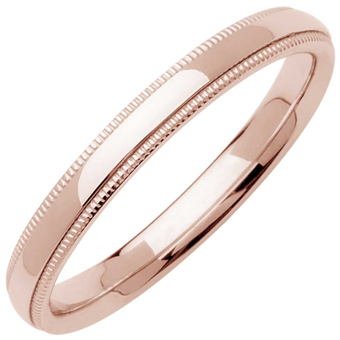 14K Rose Gold Traditional Milgrain Edge Women's Comfort Fit Wedding Band (3mm) Size-7.5c1