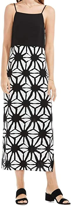 e2466fb6ba4 Vince Camuto Womens Tribal Starlight Maxi Dress w  Side Slits Rich Black XS  One Size
