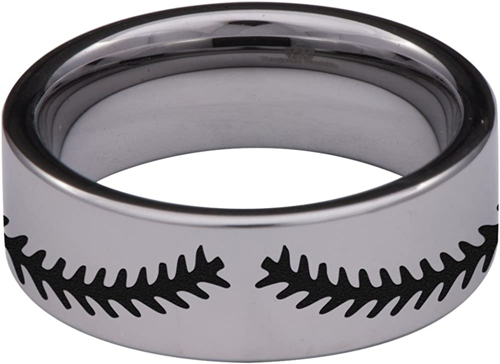 Silver Tungsten Carbide Baseball Ring 8mm Wedding Band Anniversary Ring for Men and Women Size 6.5