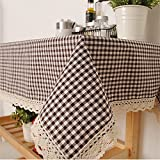 BYCE Black and white Plaid Linen Table Cloth, Elegant Lace Tablecloth, Linen Table Cover,Several Size,60x60cm (24x24 inch)