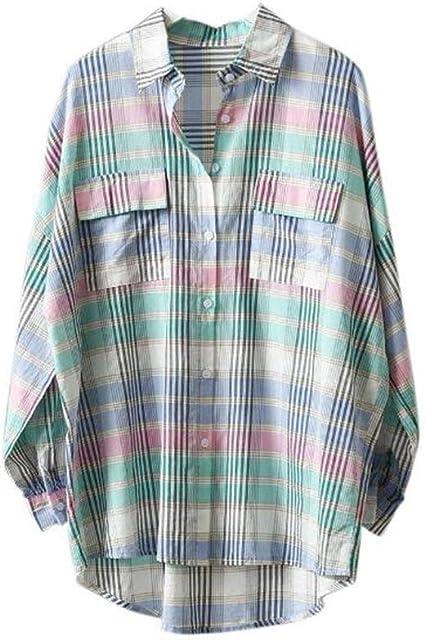 DAFREW Camisa a Cuadros Color Camisa a Cuadros Moda Camisa de ...