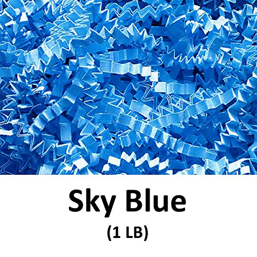 Crinkle Cut Paper Shred Filler (1 LB) for Gift Wrapping & Basket Filling - Sky Blue | MagicWater ()