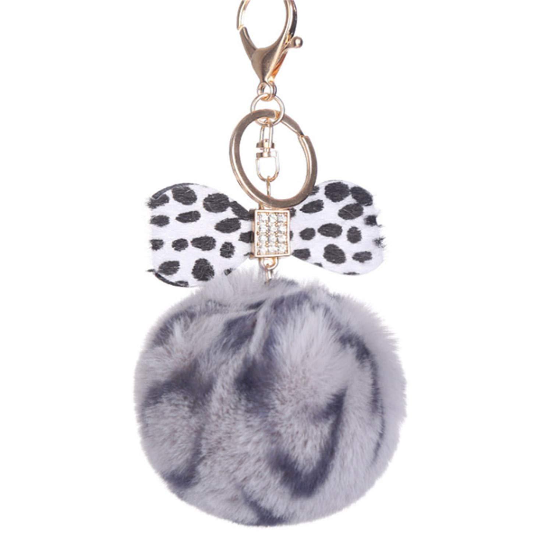 Amazon.com: Women Key Chain Fur Ball Keychain Fake Rabbit ...