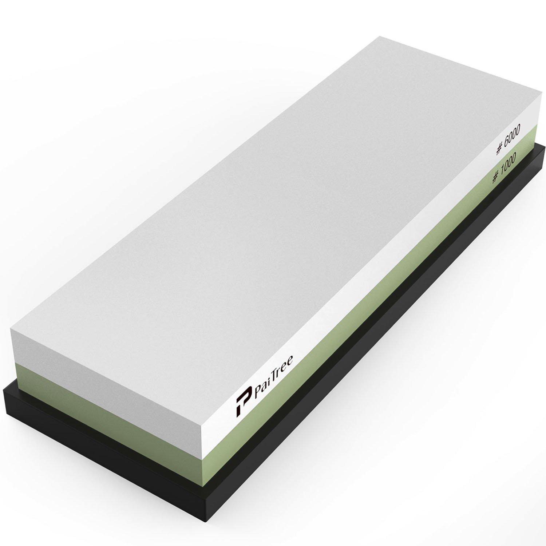 Whetstone, Premium Knife Sharpener Sharpening Stone Water Stone Kit by PaiTree, Safe Honing Holder Silicone Base Included (1000/6000 Grit) by Paitree (Image #1)