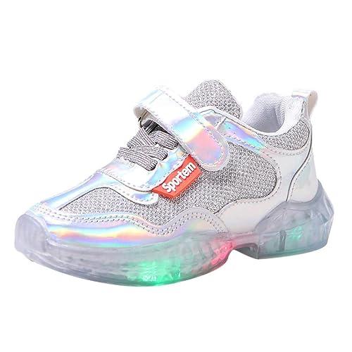 Chaussure Enfants Fille LED Baskets bébé Bout Rond LED Run