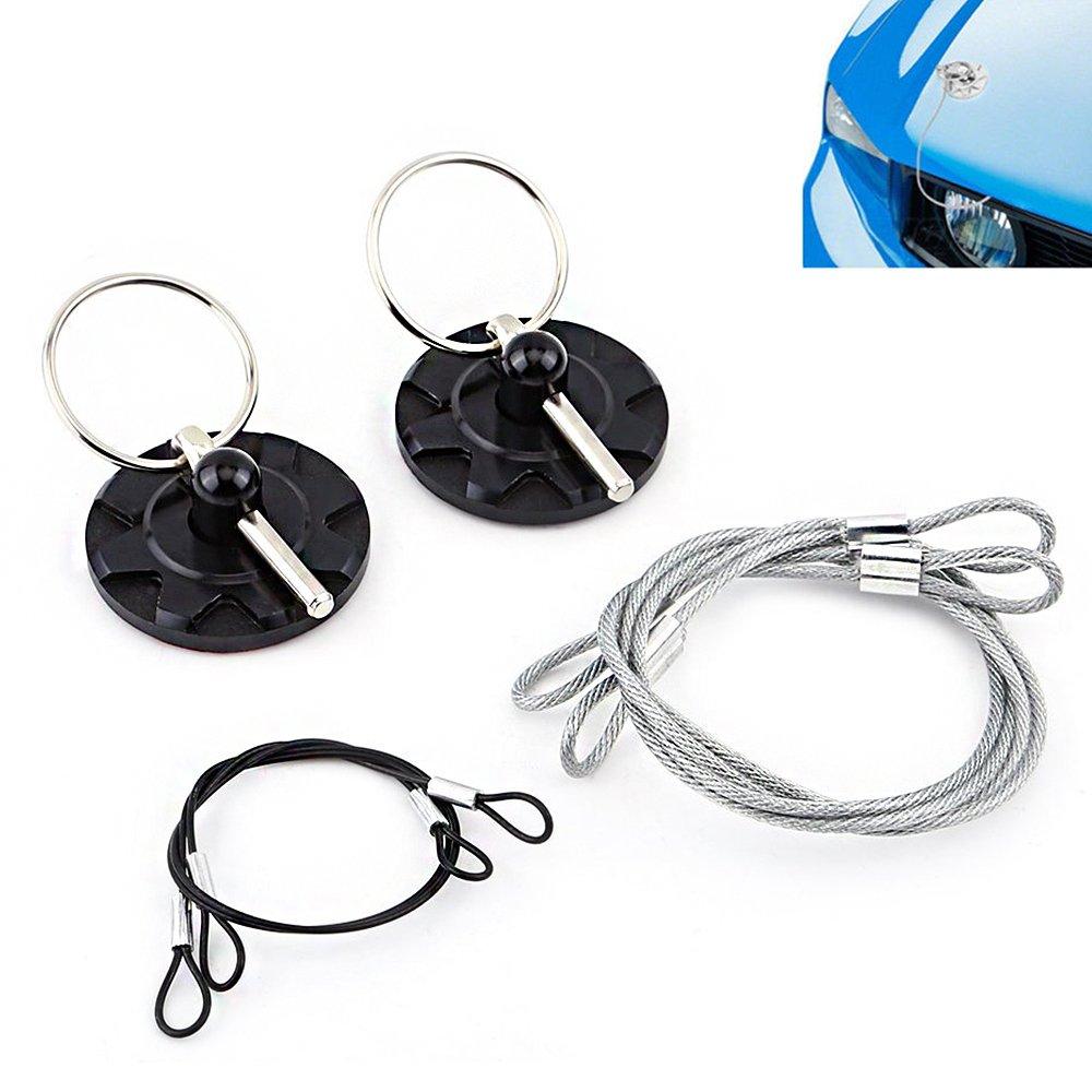 Triclicks Universal CNC Aluminum Car Vehicle Racing Hood Pin Lock Appearance Kit Black
