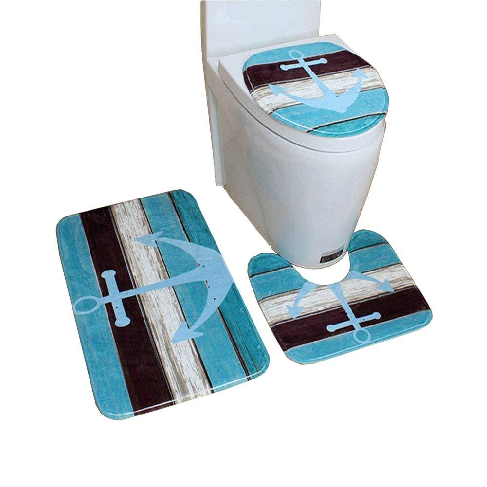 HomeYoo 3 pezzi bella 3D Vivid bagno tappeto set tappetino da bagno antiscivolo Contour coperchio coperchio toilette Tappeto, set tappetino in flanella Decorazione, assorbente, lavabile (C1)