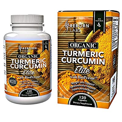 Organic Turmeric Curcumin Capsules with BioPerine ® for Joint Pain, Inflammation, & Mood Enhancement | High Potency 100% Certified Organic | Standardized to 95% Curcuminoids with Black Pepper Extract