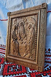 Holy Trinity Icon Durable unique christian gift Wood Carved religious wall plaque FREE ENGRAVING FREE SHIPPING