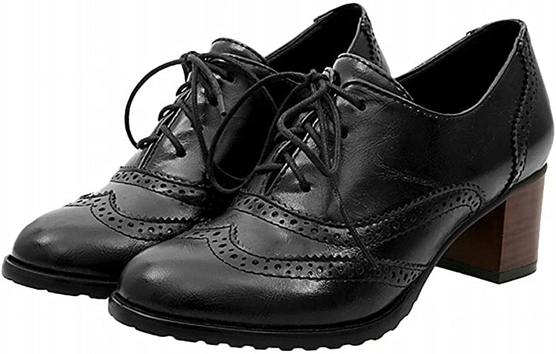 Block Heel Leather Lace-up Oxford Shoes