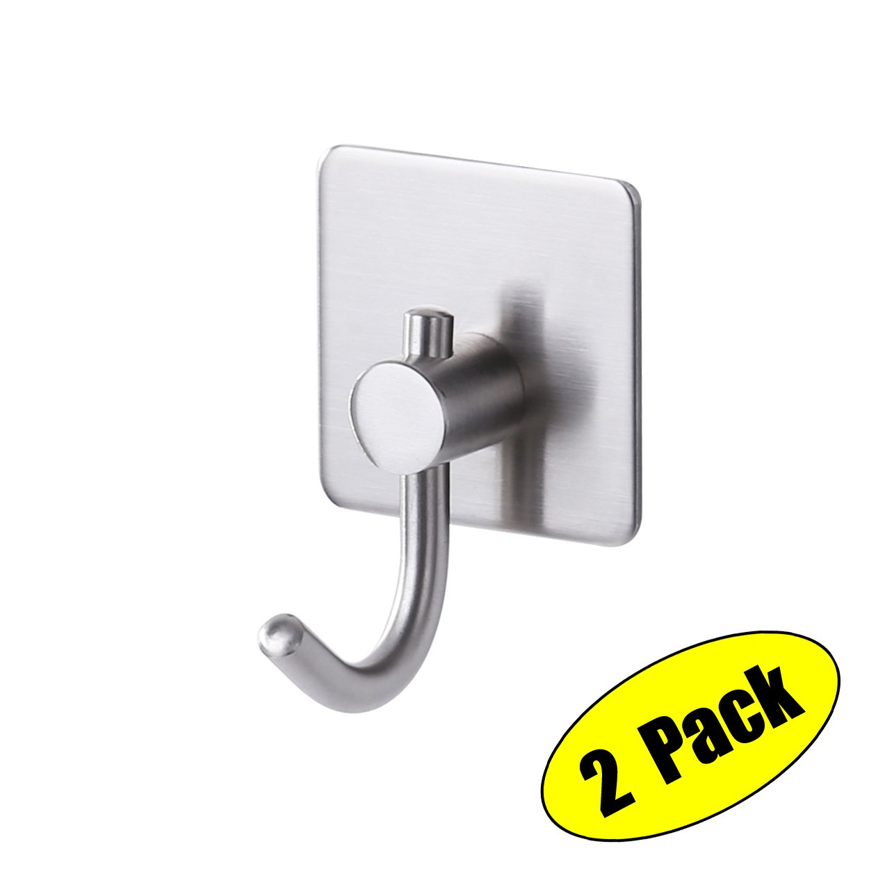 KES Wall Adhesive Hooks SUS 304 Stainless Steel with 3M Self-Adhesive Strip Sticky on Hanger for Bathroom Kitchen Brushed Finish Bath Towel Coat Robe Hook, 2 Pieces, A7068-2-P2 KES Home