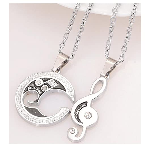 90d6a97f42 Image Unavailable. Image not available for. Color: Balakie 2 Pcs Lover Couple  Necklace I Love You Heart Music Note Pendant ...