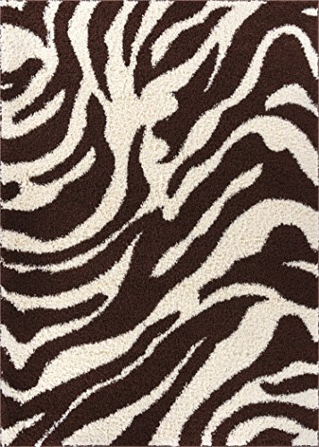 Well Woven Madison Shag Safari Zebra Brown Animal Print Area Rug 6