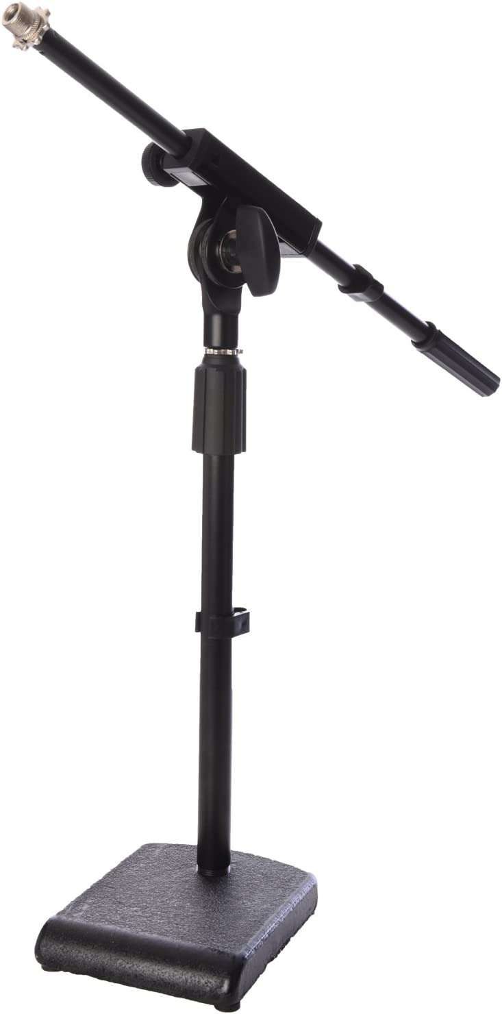 "LyxPro KDS-1 Kick Drum Mic Stand, Low Profile Height Adjustable Microphone Boom Stand, Weighted Base, 3/8"" and 5/8"" threaded mounts for for Kick drums, Guitar Amps, and Desktop, Black"