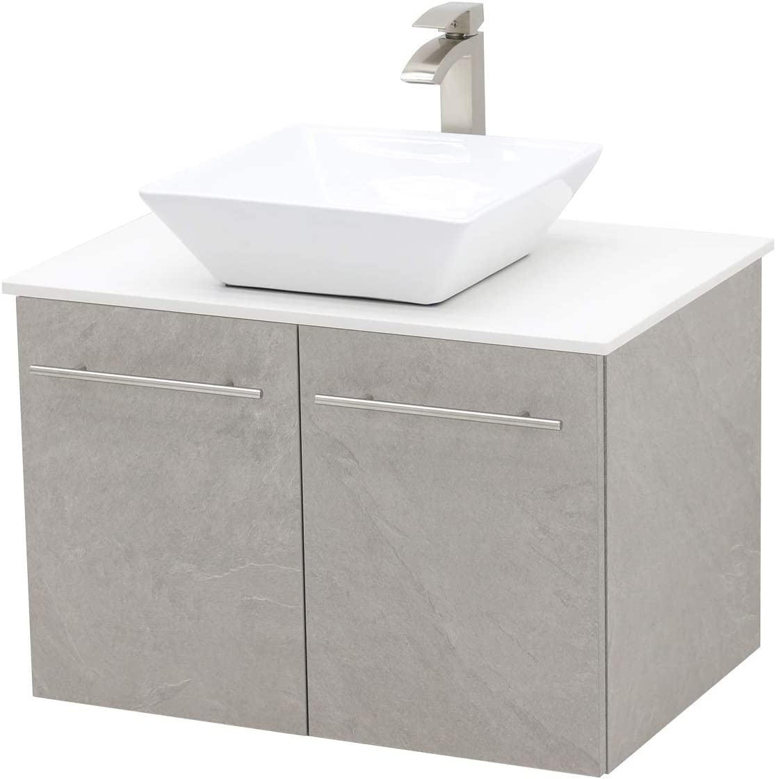 WindBay Wall Mount Floating Bathroom Vanity Sink Set. Light Slate Grey Vanity