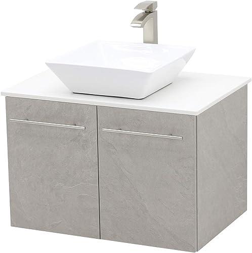 WindBay Wall Mount Floating Bathroom Vanity Sink Set. Light Slate Grey Vanity