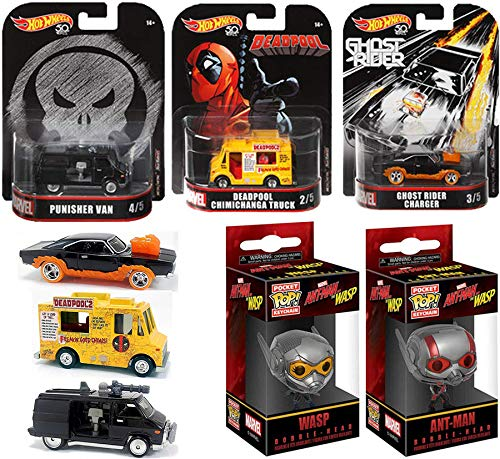 Rider Mini Figure - Hero Hot Wheels & Marvel Comics Collection -Deadpool Chimichanga Food Truck, Punisher Black Van, Ghost Rider Charger and Ant-Man + Wasp Mini Figure Pop Bundle