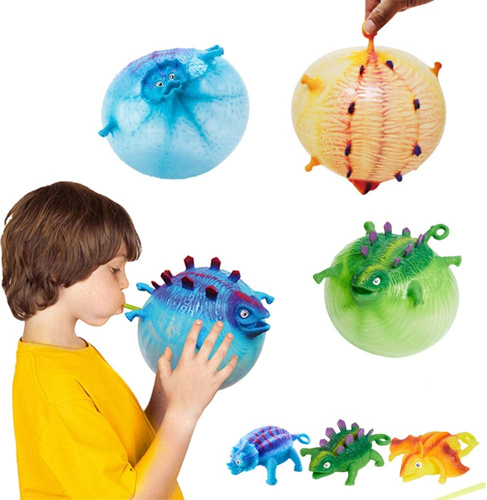 Dinosaur Inflatable Balloon Squeeze Ball Kids Toys Children Blow Animals Toys US