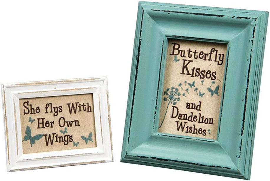 The Bridge Collection 'Butterfly Kisses' Cross-Stitch Tabletop Art, Set of 2 Assorted