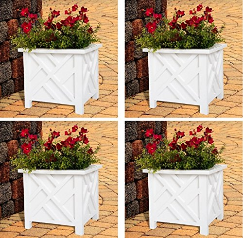 Plant Holder – Planter Container Box for Garden, Patio, and Lawn – Outdoor Decor by Pure Garden – White (Pack of 4) by Pure Garden