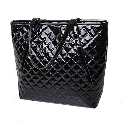 28968cce0 Amazon.com: CLARA Women Basic Fashion Tote Bag Geometric Pattern Handbag  Large Capacity Patent Leather Shoulder Bag Black: Shoes
