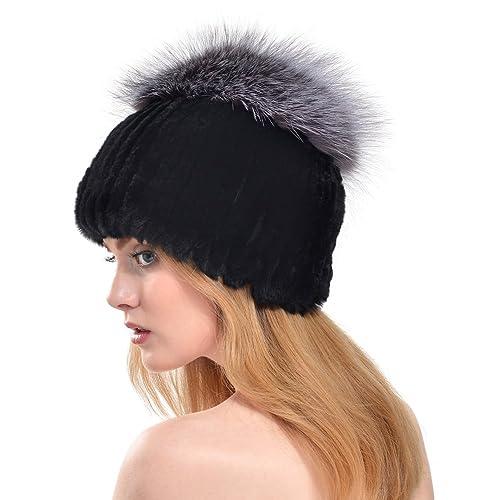 VEMOLLA Cappello Invernale per Donne in Pelliccia di Coniglio Rex con Pon Pon in Pelliccia di Volpe