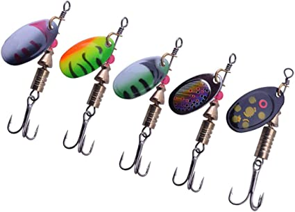 5PCS Lure lures Feather Hook  Night Fishing Fish Spoon Spinner baits 7g