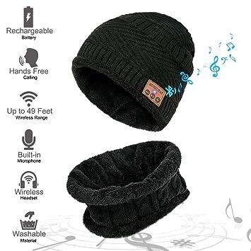 d1f3733b59ae MEETYOO Bonnet Bluetooth, Casquette Hiver Ensemble Bonnets écharpe Chapeau  avec Haut-Parleur stéréo pour