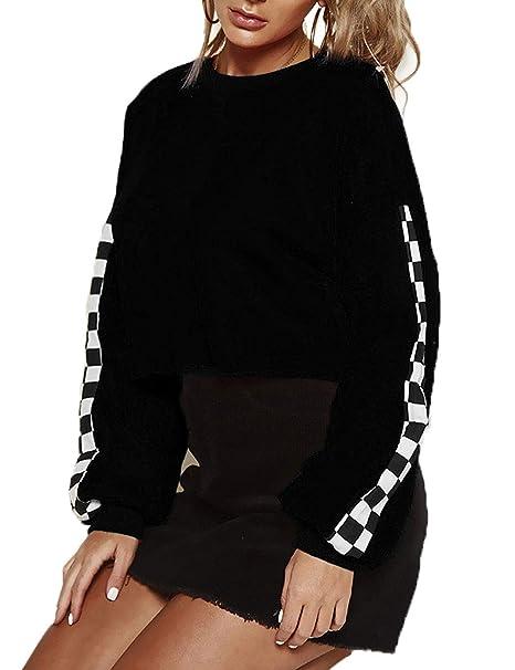 822df1fd31410 Angsuttc Women Checkered Sleeve Sweatshirt Oversized Crop Pullover Hoodie  Black S