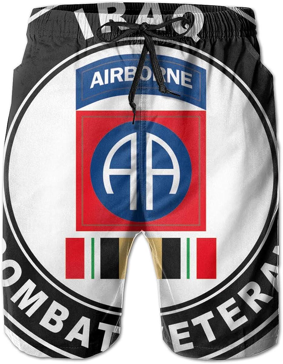 82nd Airborne Iraq Combat Veteran Operation Iraqi Mens Casual Classic Fit Short Summer Beach Shorts