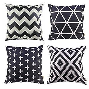 HOSL P61 4pcs Cotton Linen Sofa Home Decor Design Throw Pillow Case Cushion Covers Square 18 Inch (1x plus, 1x Geometry, 1x triangle, 1x Black Zig Zag Chevron)