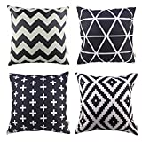 Decorative Pillow Cover - HOSL P61 4-Pack Sofa Home Decor Design Throw Pillow Case Cushion Covers Square 18 Inch (1x plus, 1x Geometry, 1x triangle, 1x Black Zig Zag Chevron) Case Only, NO PILLOW