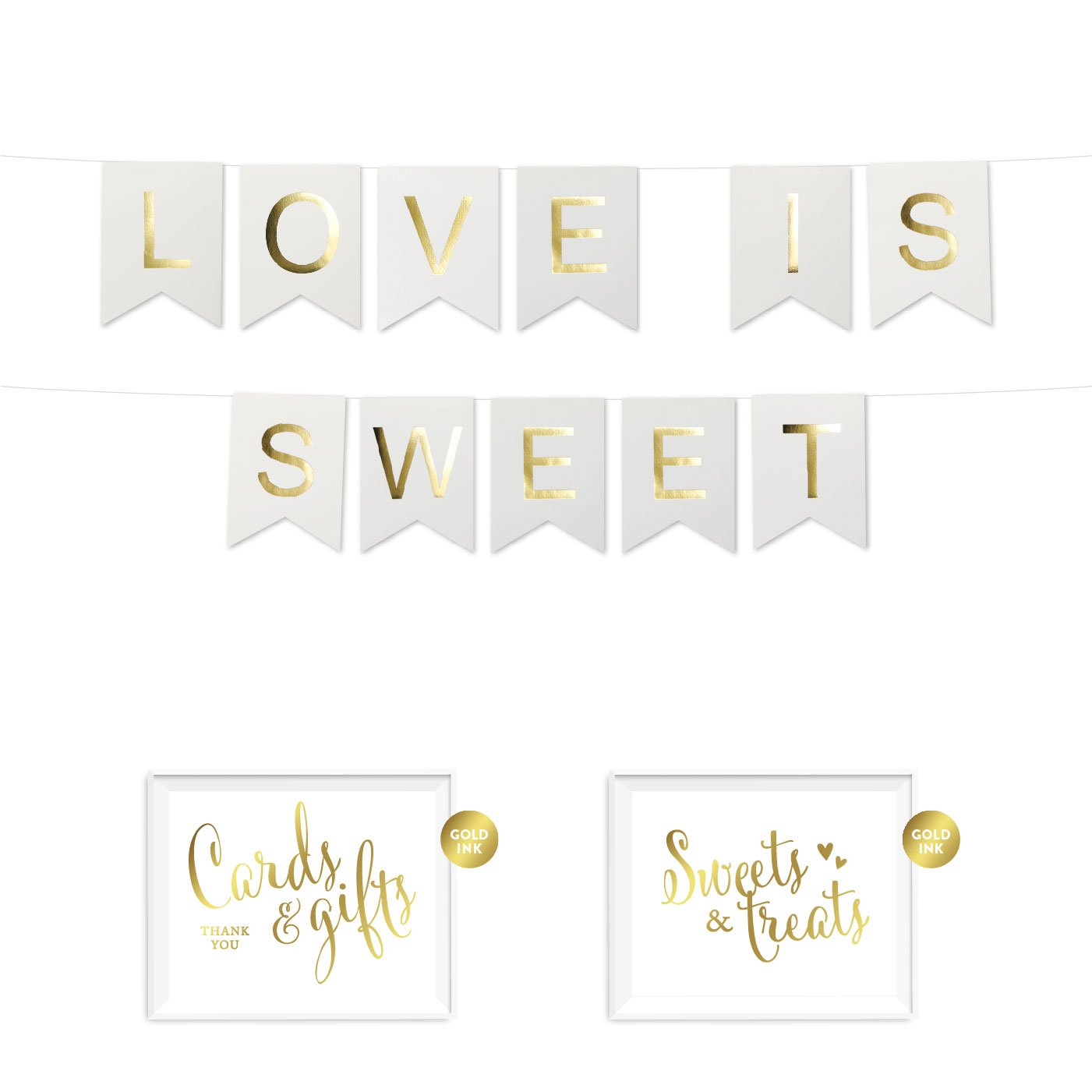 Andaz Press Shiny Gold Foil Paper Pennant Hanging Dessert Table Banner with Gold Party Signs, Love is Sweet White, Pre-Strung, No Assembly Required, 1-Set