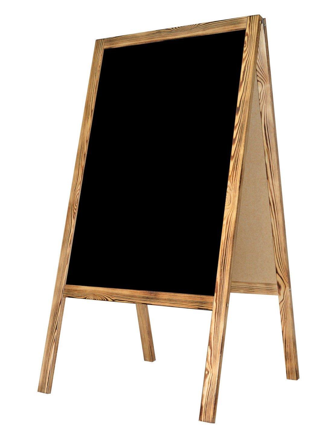 Kundenstopper Holz Tafel Werbung Kreidetafel Aufsteller Werbetafel Holztafel Werbeaufsteller Straßenständer Gehsteig Holztafel A-Tafel - BURN DWA