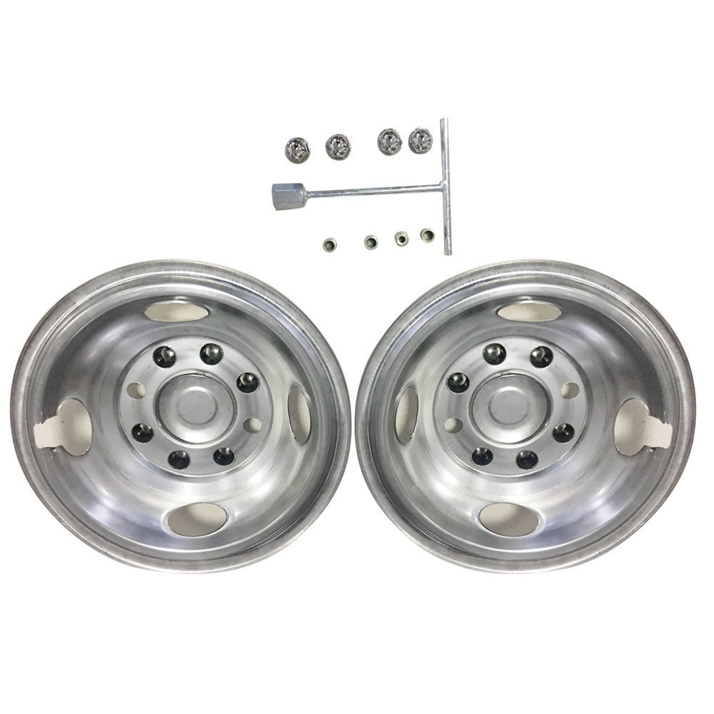 Front Wheel Simulator for 1984-2012 ford E350/1984-1998 dodge/1984-2006 GM 16'' 8 Lugs 304 Grade Stainless Steel Hub Caps(Pack of 2)