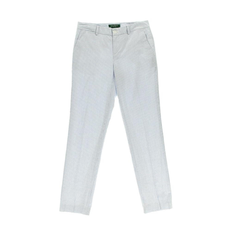 Ralph Lauren Pants Petite Straight-Leg Seersucker Blue White 6P