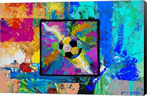 Window into the Soccer Universe - Pink and Cyan Football by Jace D. McTier Canvas Art Wall Picture, Museum Wrapped with Black Sides, 30 x 20 inches by Great Art Now
