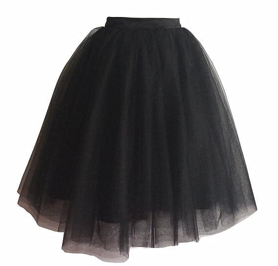 03cb55c6039 flowerry Women Tutu Tull Knee Length Skirt Wedding Bridesmaid Tutu Tulle  Prom Skirt (XS