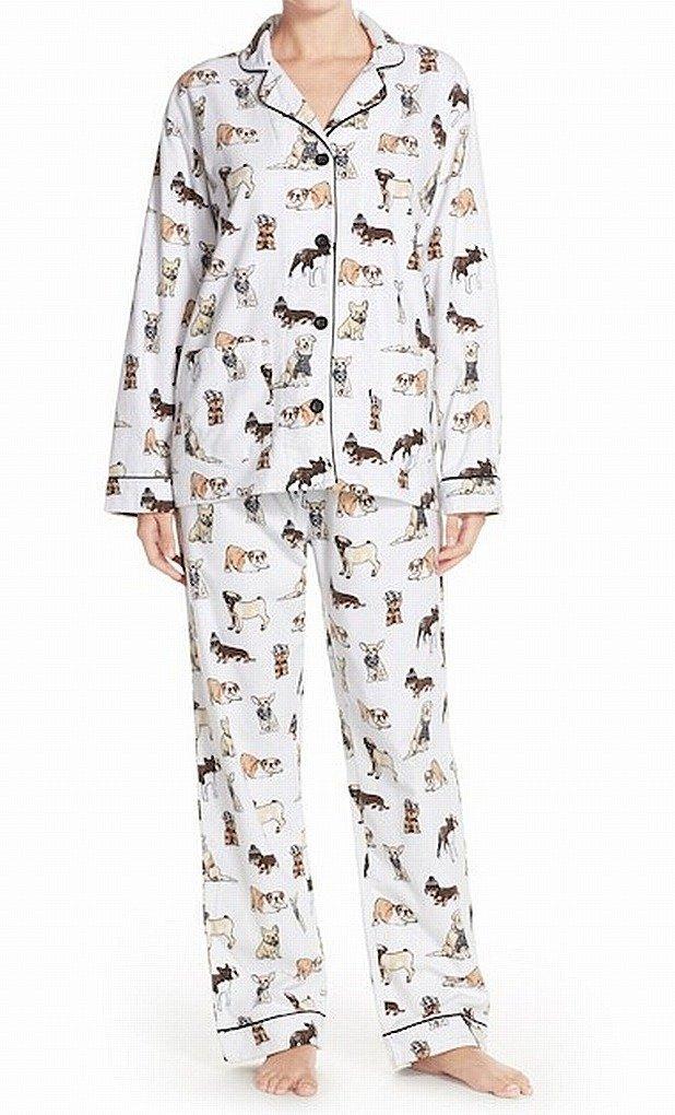 P.J. Salvage Dog Animal Print Flannel Pajama Set Sleepwear White XS